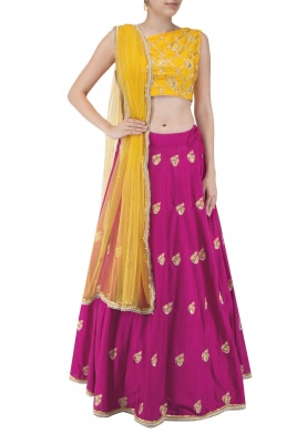 Yellow One Shoulder Crop and Pink Lehenga with All-Over Zardozi Work with Jacket