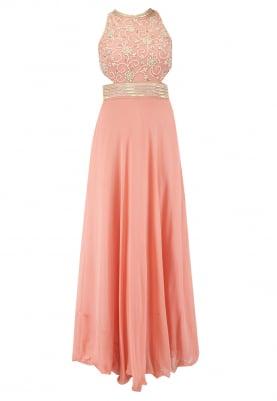 Peach Side Bust Peek-A-Boo Halter Neckline Dress and Dupatta