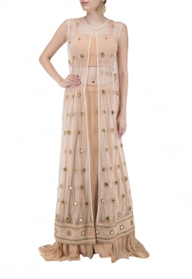 Ivory Boota All-Over Work Georgette Jacket with Ivory Plain Crop Top and Lehenga