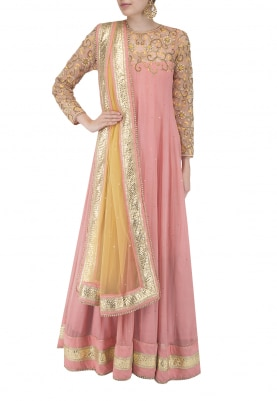 Peach and Mango Yellow Embroidered Bhopali Kalidar Anarkali and Dupatta