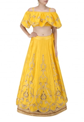 Yellow Gold Gota Work Embroidered Crop Top with Frill Paired with Skirt