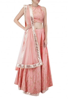 Persian Peach Lehenga with Halter Blouse Embroidered with Gota Work and Dupatta