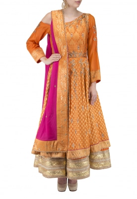 Orange One Shoulder Upada Silk Multiple Layer Anarkali with Dupatta