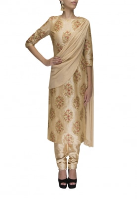 Gold Embroidered Drape Kurta with Straight Pants