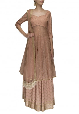 Salmon Embroidered Kurta with Lehenga and Dupatta