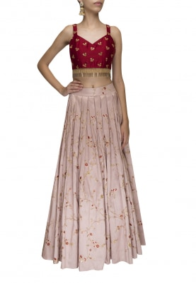 Wine Embroidered Blouse with Lilac Lehenga and Dupatta
