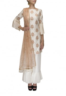 Ivory Half Drop Motif Embroidered Kurta with Plain Ruffle Hem Pants with Embroidered Dupatta