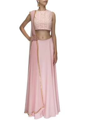 Pink Lace Blouse with Plain Lehenga and Gold Motif Scattered Dupatta