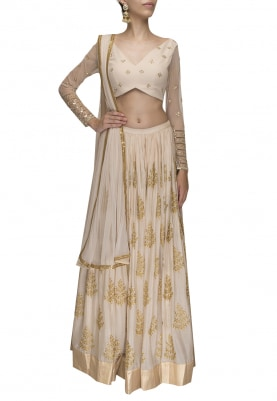 Pale Pink Embroidered Lehenga with Crop Top and Dupatta