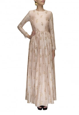 Blush Pink All-Over Sequin and Thread Embroidered Anarkali