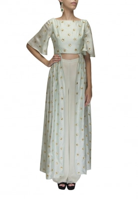 Ice Blue Sequin Embroidered High-Low Kurta with Plain Palazzo Pant.