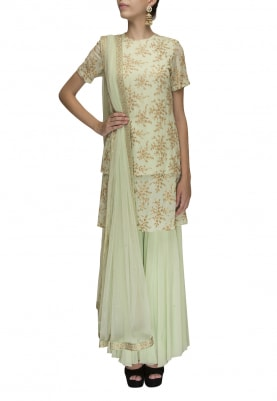 Pista Green All-Over Embroidered Kurta with Plain Flared Gharara and Lace Edging Border Dupatta