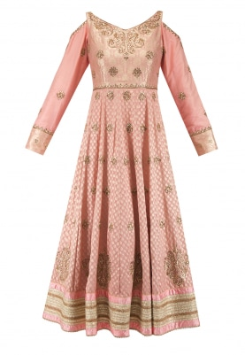 Persian Peach Upada Silk Anarkali with Dupatta