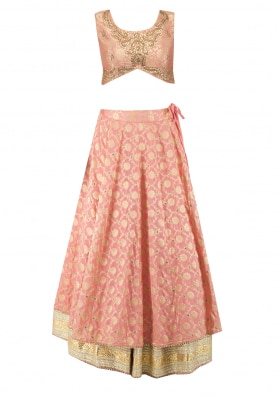 Persian Peach Upada Silk Double Layer Lehenga, Choli with Dupatta