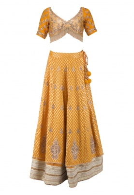 Mango Yellow Upada Silk Lehenga and Choli with Dupatta
