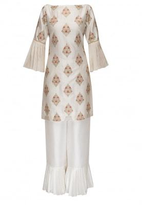 Ivory Half Drop Motif Embroidered Kurta with Plain Ruffle Hem Pants with Embroidered Dupatta