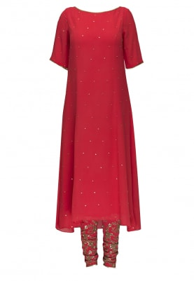 Coral Red Embroidered Kurta, Churidar with Ivory Embellished Dupatta