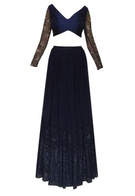 Dark Slate Blue Choli Blouse with Transparent Embroidered Sleeve with Lehenga and All-Over Work Dupatta.