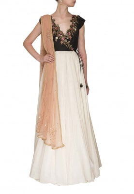 Black Cut-Work Embroidered Neckline with Cream Flare Anarkali