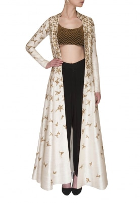 Black Embroidered Blouse with Dhoti and Cream All-Over Embroidered Jacket