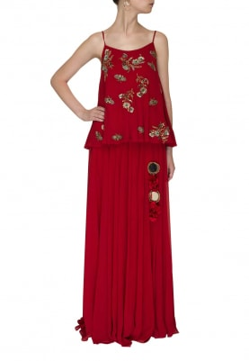 Red Embroidered Camisole Flared Top with Straight Heavy Tassel Skirt