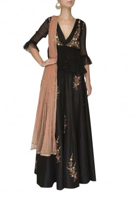 Black with Red Embroidered Peplum Style Top and Lehenga with Dupatta