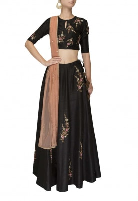 Black Motif Embroidered Blouse with Lehenga and Dupatta