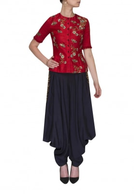Red Embroidered Jacket with Pocket Embroidered Cowl Indigo Dhoti