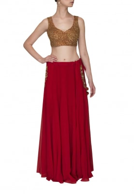 Red Embroidered Blouse with Pocket Embroidered Skirt and Dupatta
