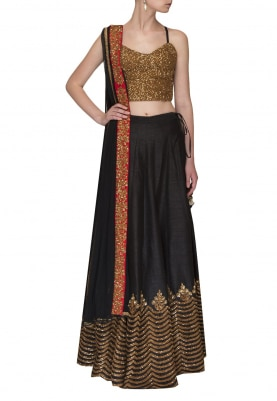 Black Embroidered Blouse with Embroidered Border Lehenga and Dupatta