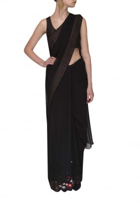 Black Embroidered Blouse with Embellishment On Pleats Of Saree