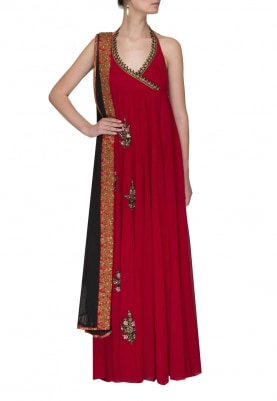 Red Halter Embroidred Anarkali
