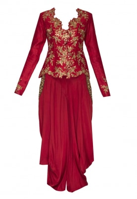 Red Embroidered Jacket with Pocket Embroidered Cowl Dhoti