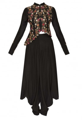 Black Embroidered Cut Work Style Asymmetric Jacket Paired with Dhoti Pants