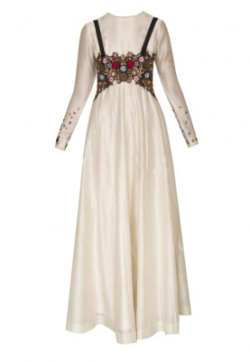 Cream Anarkali with Embroidered Suspender Style Belt
