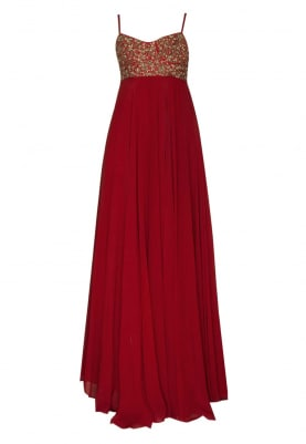 Red Bustier Embroidered Anarkali