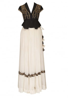 Black Embroidered Peplum Top Paired with Cream Sharara