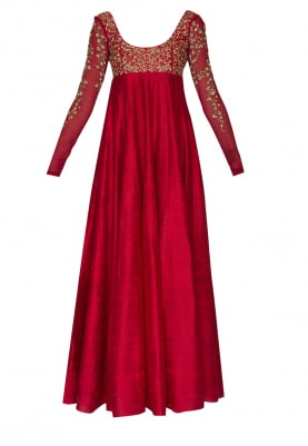 Red Bodice Embroidered Anarkali and Dupatta