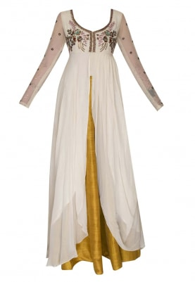 Cream Bodice and Sleeve Embroidered Anarkali with Golden Yellow Skirt and Dupatta