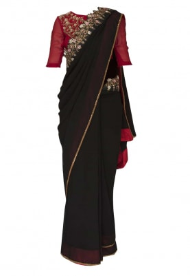 Red Embellished Blouse with Black and Red Short Shaded Saree