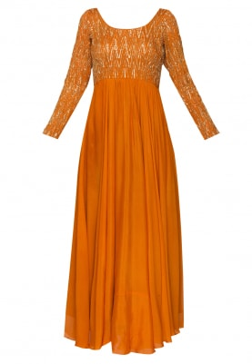 Presenting Orange Zig-Zag Pattern Embroidered Anarkali and Dupatta In Pista Green