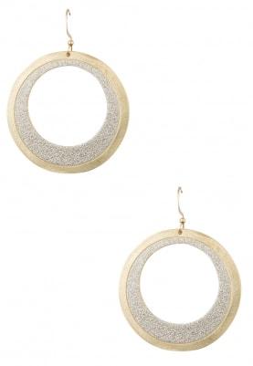 Gold Finish Diamond Dust Texture Hoops