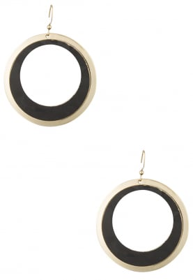Gold Finish Black Faux Leather Hoops