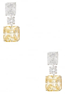 Silver and Gold Finish Lime Cubic Zirconia Earrings