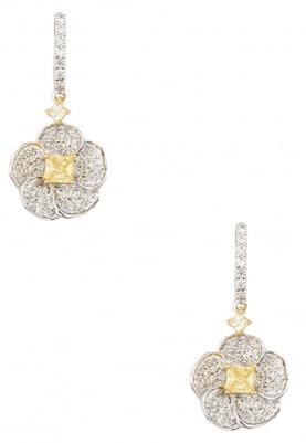Silver and Gold Finish Cubic Zirconia Earrings