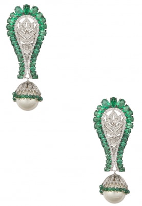 White and Black Rhodium Finish Emerald and Shell Pearl Dangler Earrings