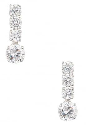 White Rhodium Finish Drop Earrings