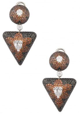 White and Black Rhodium Finish Zirconia Earrings