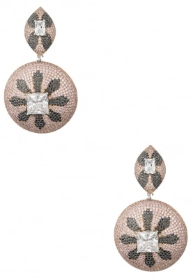Rose Gold Finish Swarovski and Cubic Zirconia Earrings