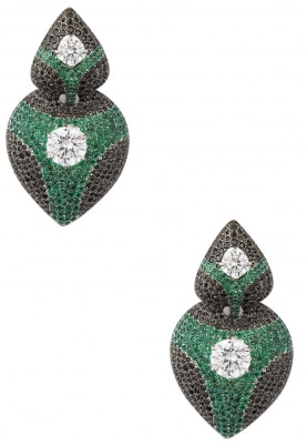 White and Black Rhodium Plated Cubic Zirconia Earrings